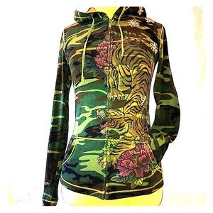 LUCKY BRAND Camouflage Zip Up Hoodie